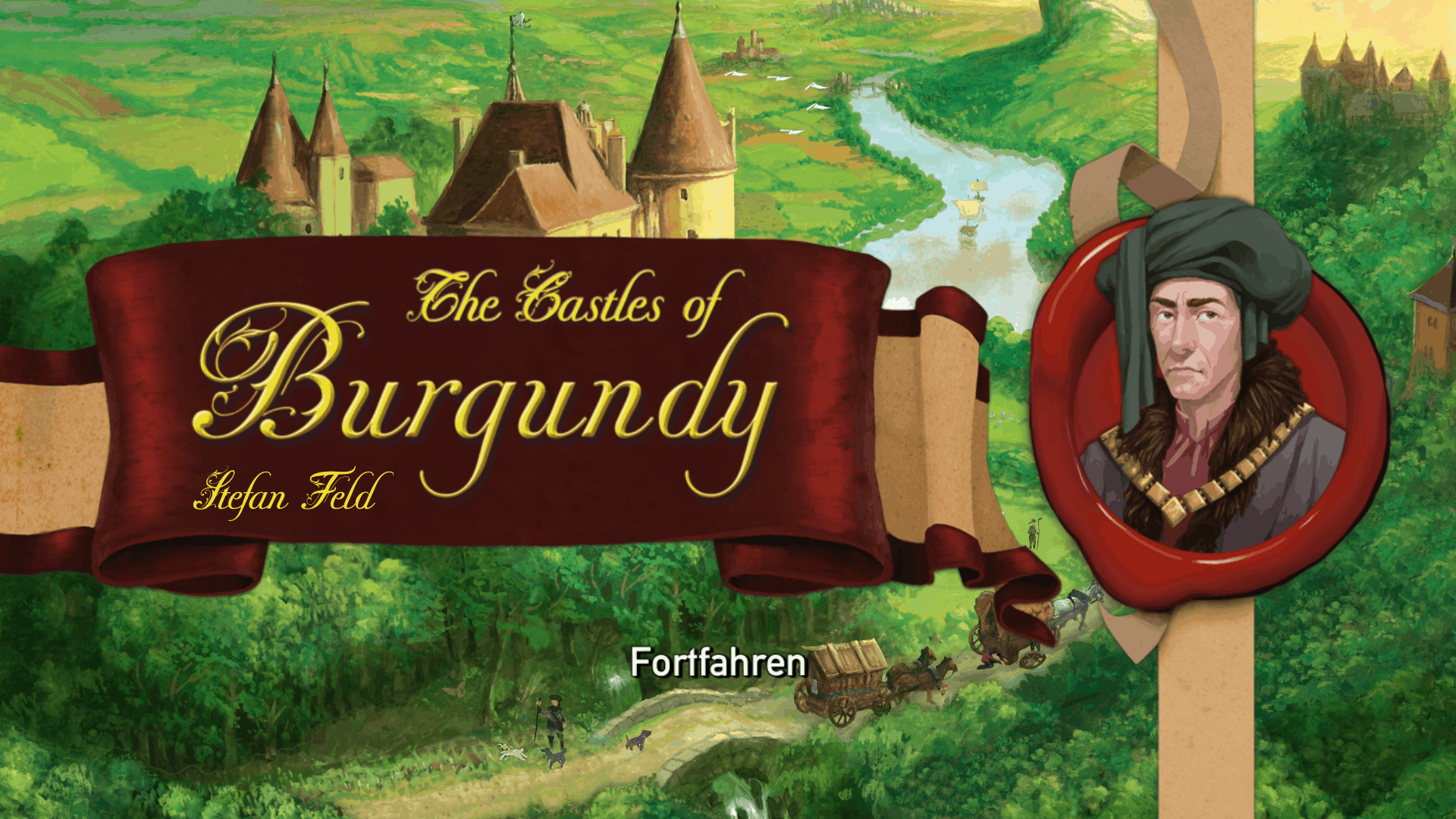 The Castles of Burgundy intro screen (2-4 player euro game)