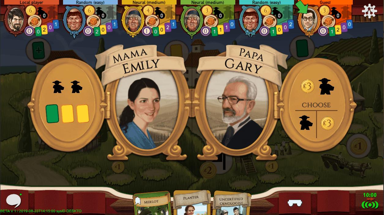 Viticulture | screenshot Mama Papa Cards Choice